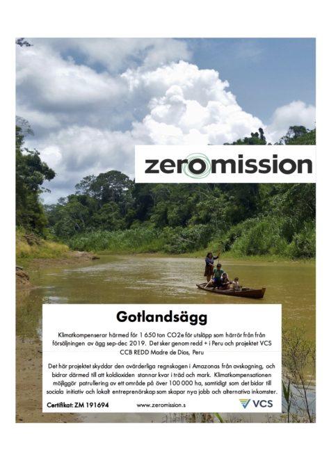 Certifikat för klimatkompensering ZeroMission