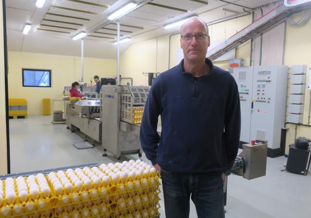 Pär i packsalen där man tog emot 36 000 ägg den här dagen.
